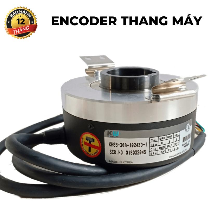 Encoder thang máy<br>trục lõm 30mm 1024 xung ABZ, 15V
