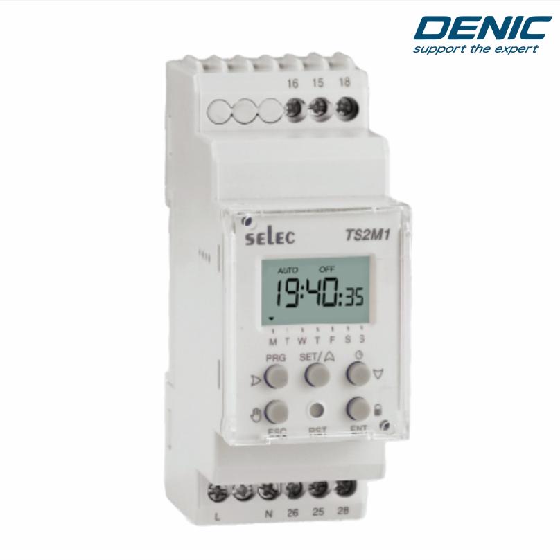Timer hoạt động theo tuần - TS2M1-2-16A-230V ( 2 kênh độc lập điều khiển 2 khu vực )