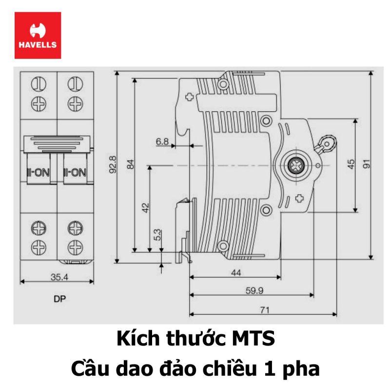 MTS 2P 63A Cầu dao đảo chiều 1 pha 3 vị trí