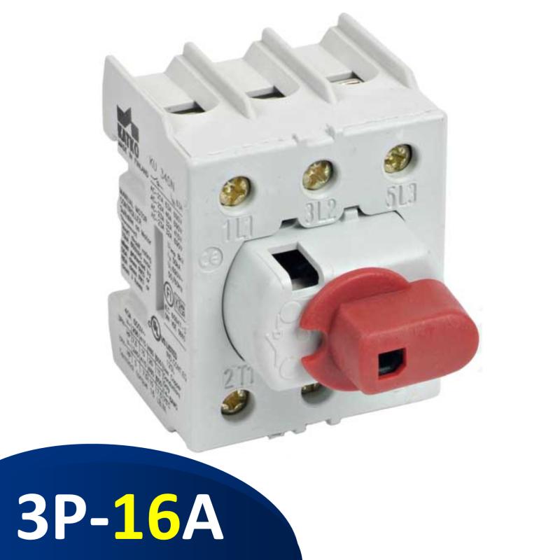 KU316N Isolator 3 pha 16A 3P, công tắc nguồn gắn rail