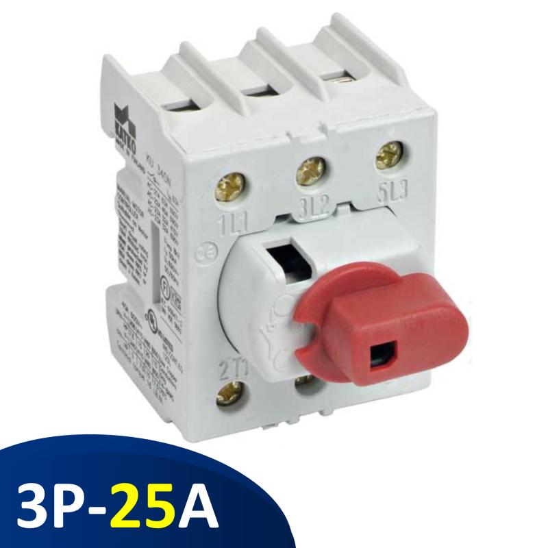 KU325N Isolator 3 pha 25A 3P, công tắc nguồn gắn rail