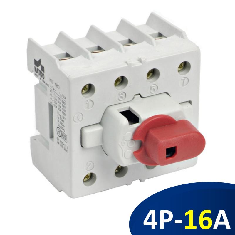 KU416N Isolator 3 pha 16A 3P+N, công tắc nguồn gắn rail